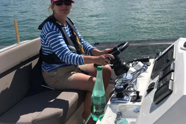 Emma at the helm