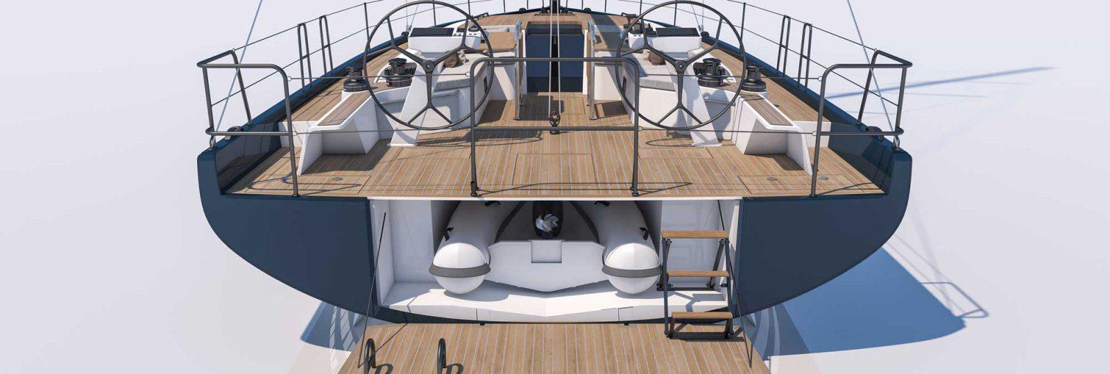 First Yacht 53 tender garage